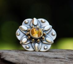 FREE SHIPPING Natural Mandalas  citrine sterling by spiralstone