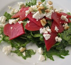 Roasted Beet Salad with Feta, Dill and Pine Nuts