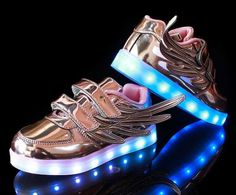 Girls Light Up Trainers With Wings Korean Version