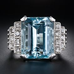 Another aquamarine ring - this time an emerald cut from the art deco period. Cool and elegant.