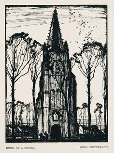 Sir Frank Brangwyn RA , British, 1867 - 1956   Ruins of a Church, Oude, Stuyvenking   1916   Wood engraving on paper