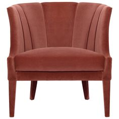 Begonia Armchair Art Deco, Contemporary, Organic, Transitional, Upholstery Fabric, Wood, Armchairs Club Chair by Carlyle Collective