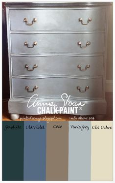 Mahogany chest of drawers painted in layers of Annie Sloan Chalk PaintⒸ. Graphite, Old Violet, Coco, Paris Grey, and Old Ochre. Clear and Dark Wax