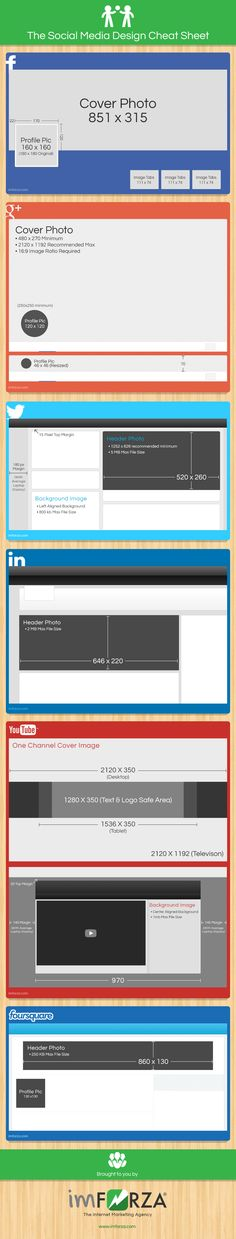 Simple Design Cheat Sheet for Social Media #socialmedia #infographic
