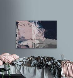 Printable Abstract Art, Navy Blue and Pink Art, instant download art, Large Abstract Art, Blush Pink Wall Art, 24x36 wall art, 24x36 print by DanHobdayArt on Etsy