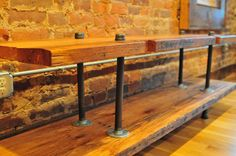 Rustic media console table.  Made from reclaimed barn wood and black iron pipe