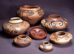 Hopi-Tewa pottery by the Nampeyo family, c. 1900-1930. Photo by Jannelle Weakly, from the permanent collections of Arizona State Museum.