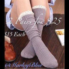 2 Pairs Left! SALE!Lace Trim Boot Socks Dark Brown Brand new boot socks. Good quality, soft, and thick. Feminine lace trim. Measures about 16 inches from ankle up. Dark brown is the only color I have left. $15 each SALE $9 each Accessories