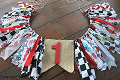 Race Car Birthday Car & Checkered Flag High Chair by AmpersandGO