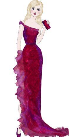 Black cherry gown Fashion Illustration
