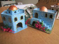 Casitas para pesebre carton Nativity House, Christmas Nativity, Christmas Home, Xmas, Holiday Ornaments, Christmas Decorations, Home Crafts, Diy Crafts, Decorative Boxes