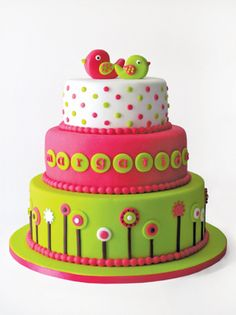 adorable birthday cake, can be modified for boys, too
