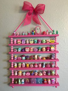 This Shopkins display regal is perfect for storing some of your littlest toys! This Shopkins display regal is perfect f. Little Girl Bedrooms, Big Girl Rooms, Kids Room Organization, Playroom Ideas, Toy Rooms, Kids Rooms, Display Shelves, Storage Shelves, Dollar Stores