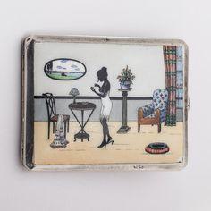RARE Vintage Solid Silver Art Deco Cigarette Case with Enamel Hallmark Austria | eBay