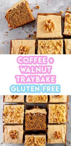 My Gluten Free Coffee and Walnut Traybake (low FODMAP, dairy free) - Food for gutenites - Fodmap Recipes, Dairy Free Recipes, Gf Recipes, Baking Recipes, Gluten Free Cakes, Gluten Free Baking, Coffee And Walnut Cake, Tray Bake Recipes, Low Fodmap
