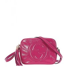 Gucci Pink Soho Soft Patent Leather Shoulder Bag (1,210 CAD) ❤ liked on Polyvore featuring bags, handbags, shoulder bags, pink shoulder bag, patent leather handbags, gucci shoulder handbags, pink purse and gucci