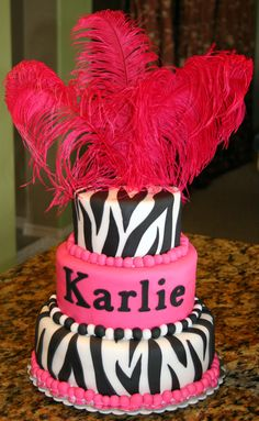 Pink Zebra cake - I could do that, but I'd spell Carly right. ;)