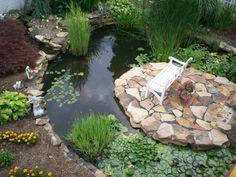 estanque con grande banco blanco