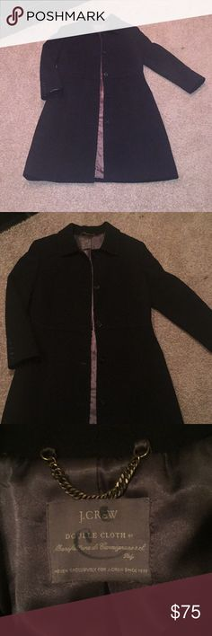 """J. Crew long trench coat J. Crew Exclusive  Double Cloth long trench coat Black 40"""" top to bottom 21"""" ap to ap 65% Olefin 35% Polyester Thinsulate insulation lining Very warm and comfy  Great condition Excellent quality J. Crew Jackets & Coats Trench Coats"""
