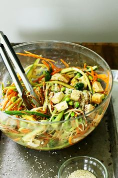 Cold Sesame Brown Rice Noodle Salad   Yummy Beet