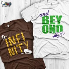 To infinity and beyond shirts disney couples shirts toy story custom matching shirts couple t-shirts vacation shirts from blueartsgraphix on etsy. Disney Couple Shirts, Disney Couples, Disney Vacation Shirts, Shirts For Disney World, Diy Disney Shirts For Boys, His And Hers Disney Shirts, Vacation Movie, Disney Honeymoon, Disneyland Vacation