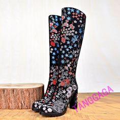 Elegant Womens Grace Embroidered Flowers Pumps High Heel Zipper Knee High Boot