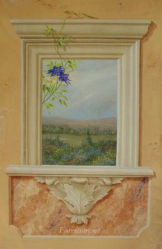 Decorazione murale finestra dipinta a trompel'oeil