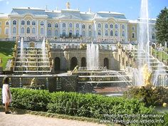 Peterhoff, St Petersburg, Russia.  Peter the Great's summer palace, a truly magical place,    http://www.travel-guide.veselo.info/english/st-petersburg/environs/peterhof/fountains/grand-cascade/palace-view.html