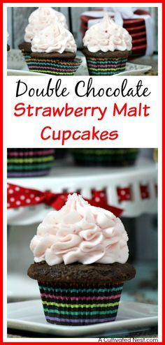 If you love chocolate and cupcakes, you're sure to love these yummy double chocolate strawberry malt cupcakes! Homemade frosting recipe included!