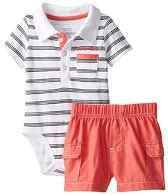 Calvin Klein Baby-Boys Newborn Stripes Polo Bodysuit and Cargo Shorts, Multi, 6-9 Months - Short set  - http://ehowsuperstore.com/bestbrandsales/clothing/calvin-klein-baby-boys-newborn-stripes-polo-bodysuit-and-cargo-shorts-multi-6-9-months