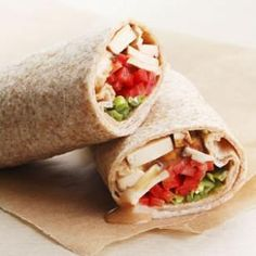 Recipe: Peanut Tofu Wrap-- Baked tofu with store-bought Thai peanut sauce makes a quick and healthy sandwich filling. @EatingWell #lightlunch