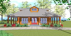 Floor Plan - Cabin, Vacation, Empty Nester, Pool - PDF Email only Craftsman Cottage, Cottage House Plans, Cottage Homes, Bungalow Homes, Cottage Exterior, Cottage Ideas, Craftsman Style, Farm House, Best House Plans