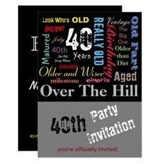 40th Happy Birthday in a Graffiti Style Invitation Funny Birthday Invitations, Happy Birthday Funny, Custom Invitations, Graffiti Designs, Graffiti Styles, Birthday Typography, 70th Birthday Parties, Birthday Ideas, Birthday Template