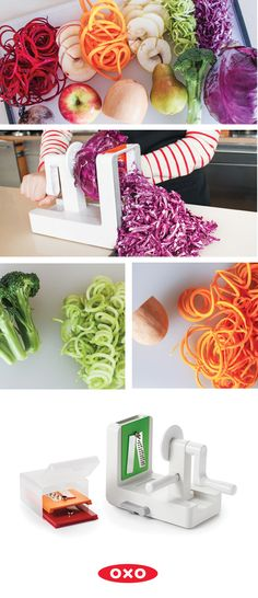 Not just for zoodles – the OXO Spiralizer can be used for cauliflower rice, slaw, apple chips, and more! Cooking Tips, Cooking Recipes, Raw Recipes, Yummy Recipes, Healthy Snacks, Healthy Eating, Apple Chips, Spiralizer Recipes, Veggie Noodles