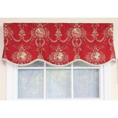 Vcny Infinity Sheer Window Scarf Valance  54X216   Black    Walls     This petite cameo toile pattern features natural design printed on a  crimson duck background and fnished