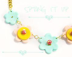 #Mintgreen #flowers #statement #necklace