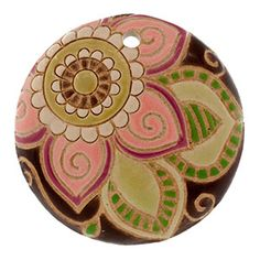 36-38mm Pink Paisley Swirl Flower Domed Circle Pendant by Golem Design Studio | Fusion Beads  23.99 want!!
