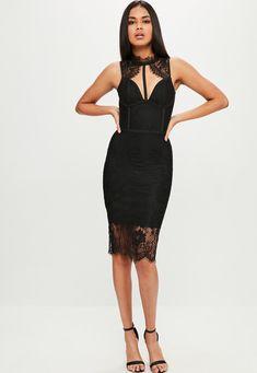 Missguided - Black Premium Bandage Lace Dress