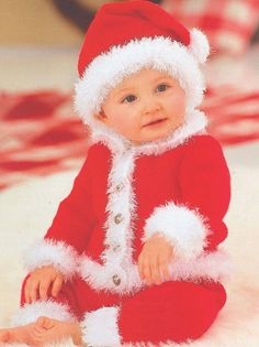 Baby Santa Suit Knitting Pattern Snuggly DK by VintagePatterns2015
