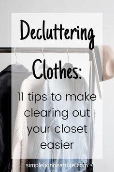 Decluttering clothes: 11 tips, tricks & hacks to make purging your closet easier. These are my go-to tips & tricks that Cleaning Closet, House Cleaning Tips, Spring Cleaning, Cleaning Hacks, Cleaning Checklist, Apartment Checklist, Diy Home Cleaning, Declutter Bedroom, Declutter Your Life