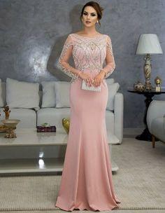 Vestido longo para festa de bodas de ouro