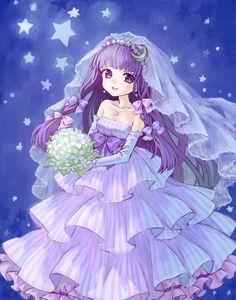 Tags: Anime, Wedding, Wedding Dress, Touhou, Patchouli Knowledge, Veil, Bouquet