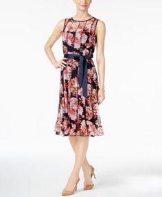 Jessica Howard Pintucked Floral-Print Sash Dress