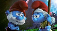 Oh hey, who is this blue lady? Papa Smurf isn't quite sure what to make of her yet... Get ready to meet Smurfwillow (voiced by the wonderful Julia Roberts) when SMURFS: THE LOST VILLAGE hits theaters on April 7! #SmurfsMovie