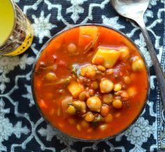 Moroccan Harira soup, bean, veggies, warm spices. Perfect winter soup