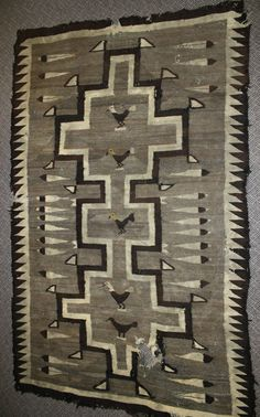 *Navajo Antique Feather Bird Saddle Blanket Churro Rug 70 X 43 Pictorial Wool