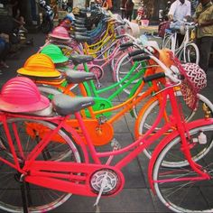 Coloured bicycles in Jakarta, Indonesia. #jakarta #java #indonesia #colour #travel #throwback #travels #travelpic #instatravel #instagood #igers #travelblogger #travelblog #bicycle #bike