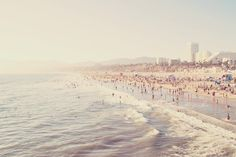 "Santa Monica photograph - ""sunny california"". crowded summer - pastel blue - west coast vacation - beach seaside"