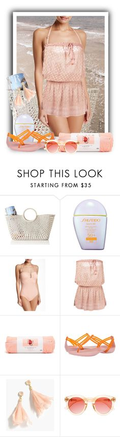 """""""Swimsuit and Cover"""" by dundiddit ❤ liked on Polyvore featuring Mark & Graham, Shiseido, Vince Camuto, Melissa Odabash, ban.do, Crocs, J.Crew, Crap and beach"""
