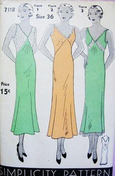 1930s Slinky Slips Lingerie Pattern Simplicity 7118 Perfect Evening Slip Dress 3 Style Versions Bias Cut Slip Bust 36 Vintage Sewing Pattern